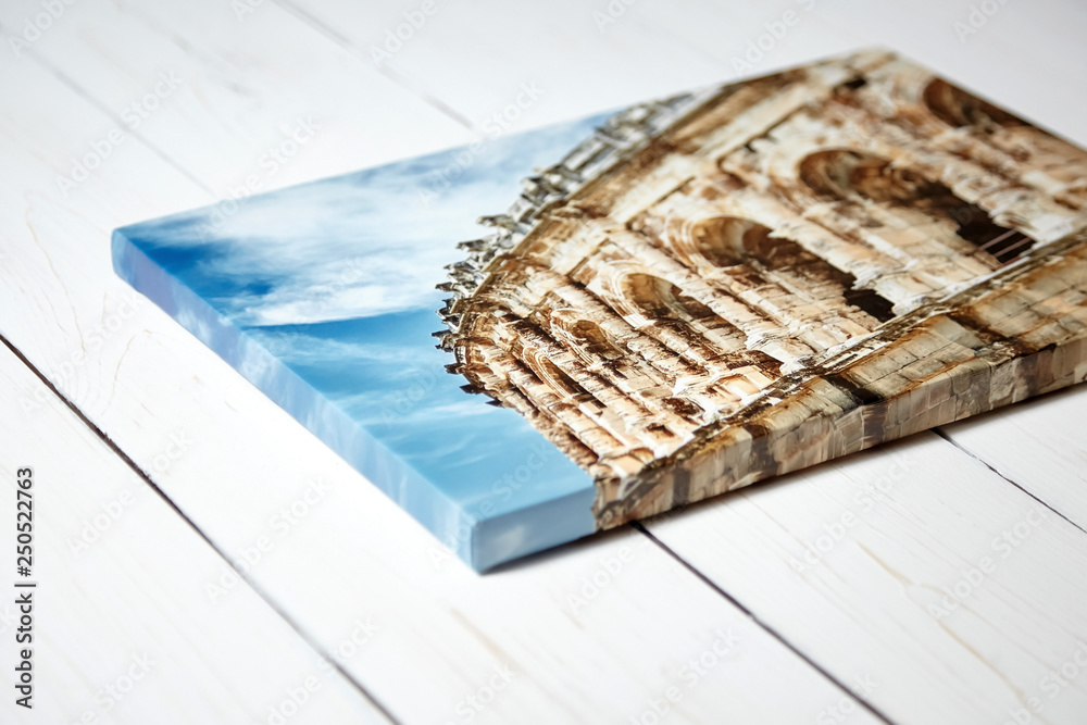 Fototapeta Canvas print. Photo with gallery wrap method of canvas stretching on stretcher bar. Photography with image of the ancient Roman amphitheatre in Nimes city, France