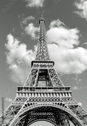 Fotografie, Obraz  bottom view of Eiffel Tower in black and white