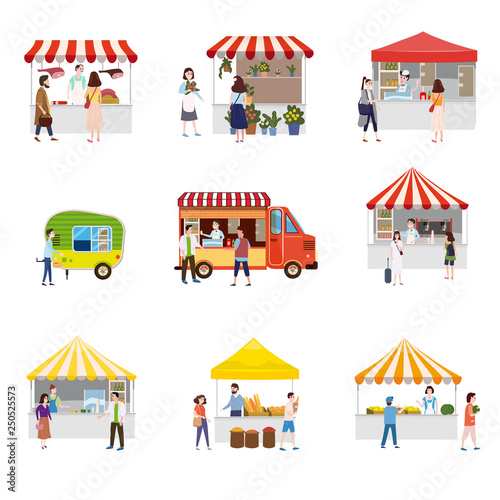 Stampa su Tela Set outdoor street food festival canopy tent pavilion shopping stall kiosk with