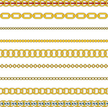 Flat Vector Set Of Figured Gold Chain Isolated On White Background.