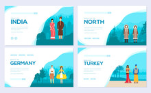 Couples From Different Countries Of The World. Traditional Clothing Of Different Nationalities Brochure Card Set. Invitation Template Of Flyear, Web Banner, Ui Header, Enter Site. Layout Modern