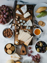 Overhead View Of Various Food On Marble Table