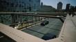 Brooklyn Bridge, Blurry move cars cars, move camera New York City, New York slow motion