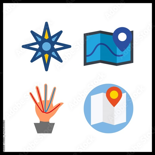 4 compass icon  Vector illustration compass set  map and windrose