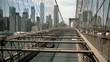 Brooklyn Bridge, Blurry move cars cars, move camera New York City, New York move camera up. slow motion