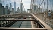 Brooklyn Bridge, Blurry move cars cars, move camera New York City, New York. slow motion