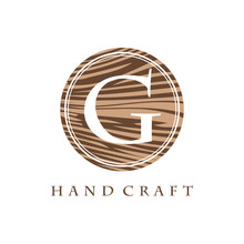 Circle Wood Texture G Letter Logo