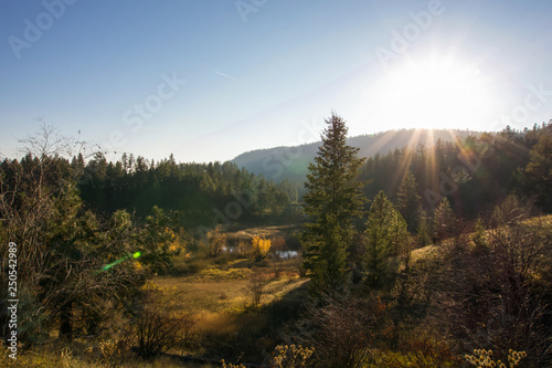 Foto auf Gartenposter Wald Autumn sun setting behind mountain with evergreen forest and meadow in sunlight