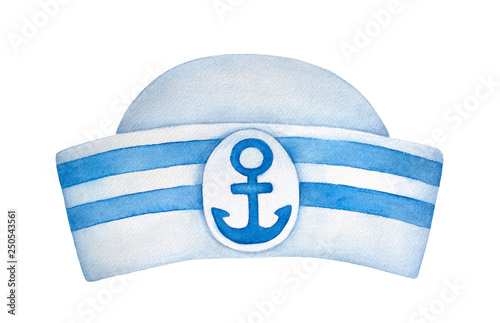 Photo Classic sailor hat with blue stripes and decorative anchor emblem