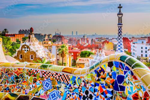 Spoed Fotobehang Barcelona Park Guell en Barcelona, España, símbolo del turismo.