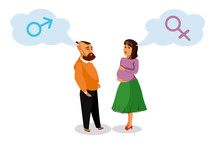 Pregnant Woman With Husband Vector Design Element