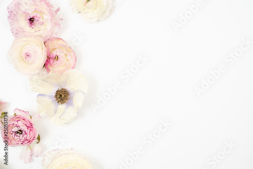 Fotografía Pink and White Ranunculus Floral Flat Lay Background