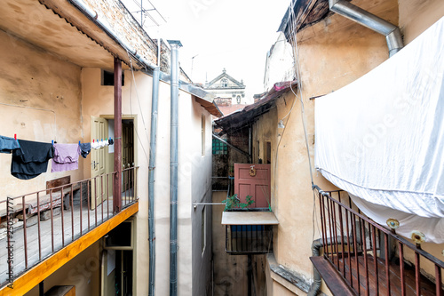 Typical Courtyard For Hanging Clothes In Summer Drying On Rack Clothesline Line Ukraine By Old