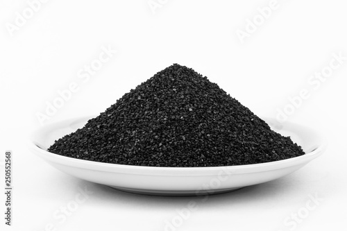 Photo Activated Carbon in the water filter isolated on white background