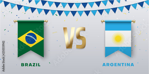 Cuadros en Lienzo Brazil VS Argentina: teams presentation for sports games, competitions and battles
