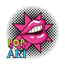Female Mouth Pop Art Style Iso...