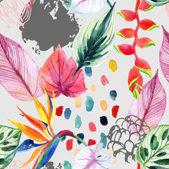 Fototapeta Do biura Hand drawn abstract tropic summer background: watercolor colorful leaves, flowers, watercolour brushstrokes, grunge, scribble textures