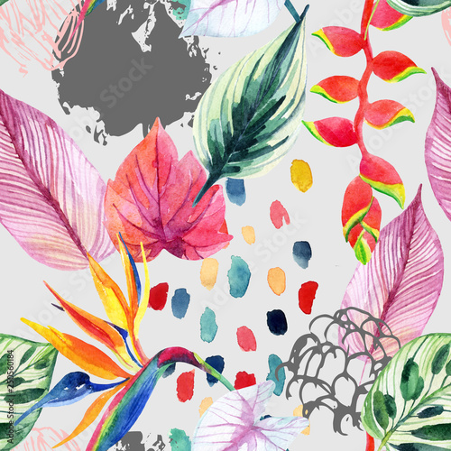 Hand drawn abstract tropic summer background: watercolor colorful leaves, flowers, watercolour brushstrokes, grunge, scribble textures