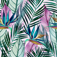 Fototapeta Liście Watercolor tropical seamless pattern with bird-of-paradise flower, palm leaves