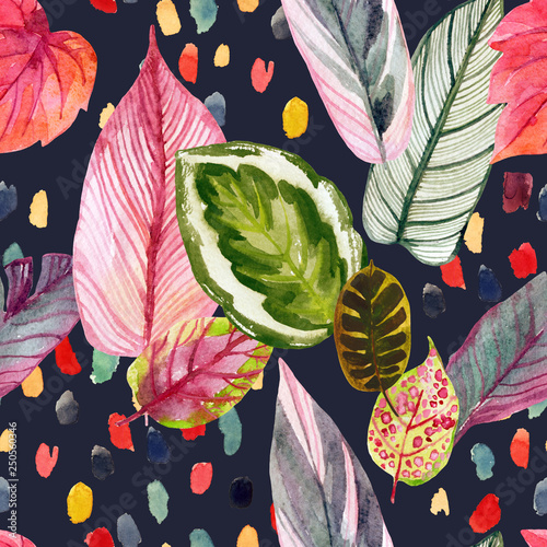 Printed kitchen splashbacks Watercolor Nature Colorful tropic summer background: watercolor leaves, abstract brushstrokes in retro 90s style