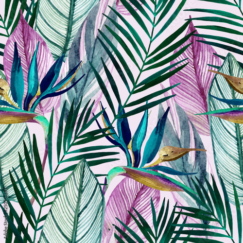 Tuinposter Aquarel Natuur Watercolor tropical seamless pattern with bird-of-paradise flower, palm leaves