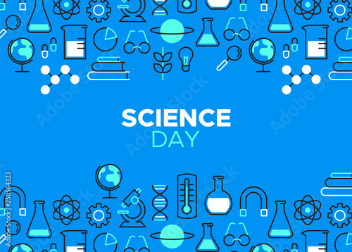 Science Day outline icon illustration Canvas Print