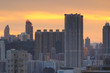 Sunset skyline of Hong Kong at Victoria harbo