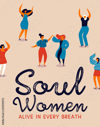Fototapeta Happy diverse women dancing for womens day party obraz na płótnie