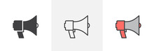 Megaphone Loudspeaker Icon. Line, Glyph And Filled Outline Colorful Version, Bullhorn Outline And Filled Vector Sign. Announcement Symbol, Logo Illustration. Different Style Icons Set. Pixel Perfect