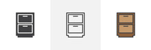 Drawer, Cupboard Icon. Line, G...