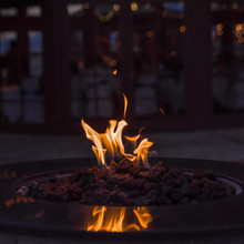 Fire In A Fire Pit With Copy Space.