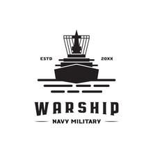 War Ship Navy Military Logo Icon Vector Template