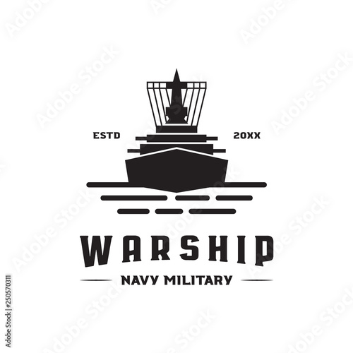 Fotomural war ship navy military logo icon vector template