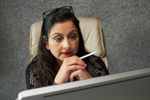 Businesswoman Focused On Work