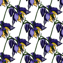 Flower Bouquet Vector Pattern With Large Flowers And Leaves. Vector Graphics