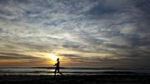 Woman Beach Walking Sunset Car...