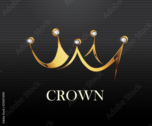 Photo Crown logo vector illustration royal look logo.