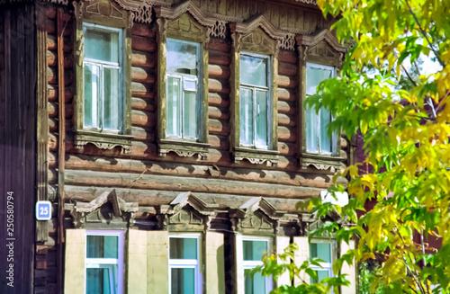 Deurstickers Illustratie Parijs Plinths of windows of wooden houses. Ancient style of decoration