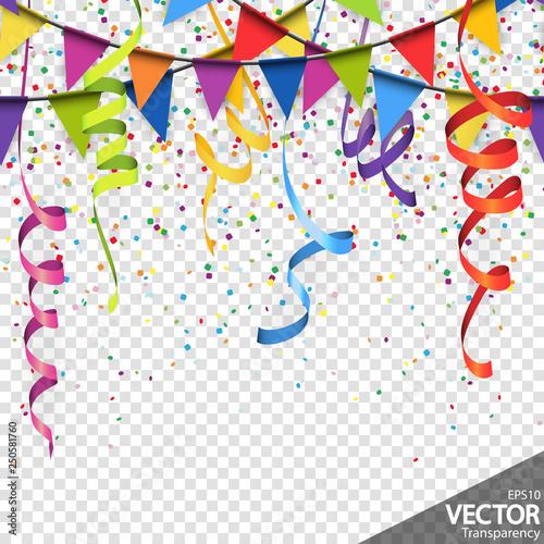 Fototapeta confetti, garlands and streamers party background obraz na płótnie