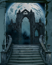 Illustration Of An Old And Dark Scary Entrance With Stairs
