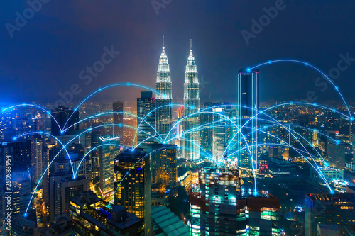 Canvas Prints Kuala Lumpur cityscape with line network connection