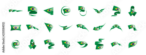 Photographie  Brazil flag, vector illustration on a white background