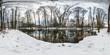 canvas print picture - Winter full spherical hdri panorama 360 degrees angle view road in a snowy forest near river with gray pale sky in equirectangular projection. VR AR content