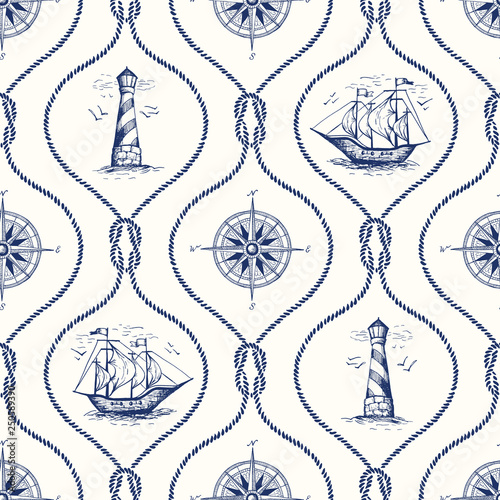 Vintage Hand-Drawn Rope Ogee Vector Seamless Pattern with Lighthouse, Sea Compass, Ship and Nautical Reef Knot.
