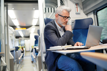 Businessman working on laptop in train