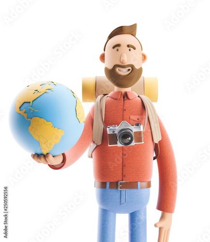 Cartoon character tourist stands with a large map pointer and globe Tapéta, Fotótapéta