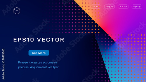 Obraz Abstract Colorful Landing Page Template. Aspect Ratio 16:9. EPS 10 Vector. - fototapety do salonu