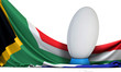 canvas print picture - South Africa flag with rugby sport ball. 3D Rendering