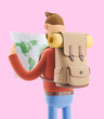 Cartoon character tourist holds world map in hands. 3d illustration.