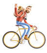Cartoon character tourist ride on bicycle. 3d illustration.